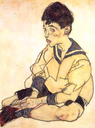 Egon Schiele ⋯ Seated Male Nude