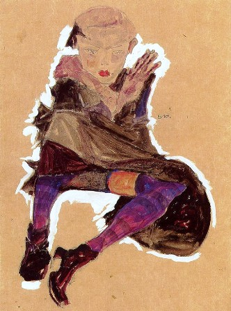 Egon Schiele  ⋯ Seated Young Girl