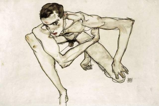 Egon Schiele ⋯ Autoritratto in posizione accucciata