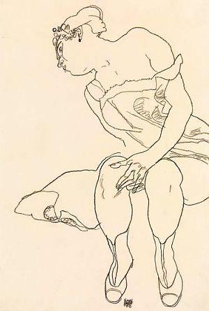 Egon Schiele ⋯ Donna seduta con un corsetto e stivali