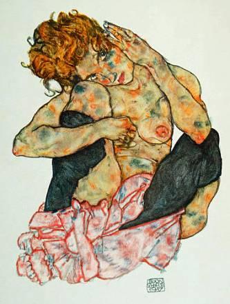 Egon Schiele ⋯ Crouching girl nude, cheek on right knee